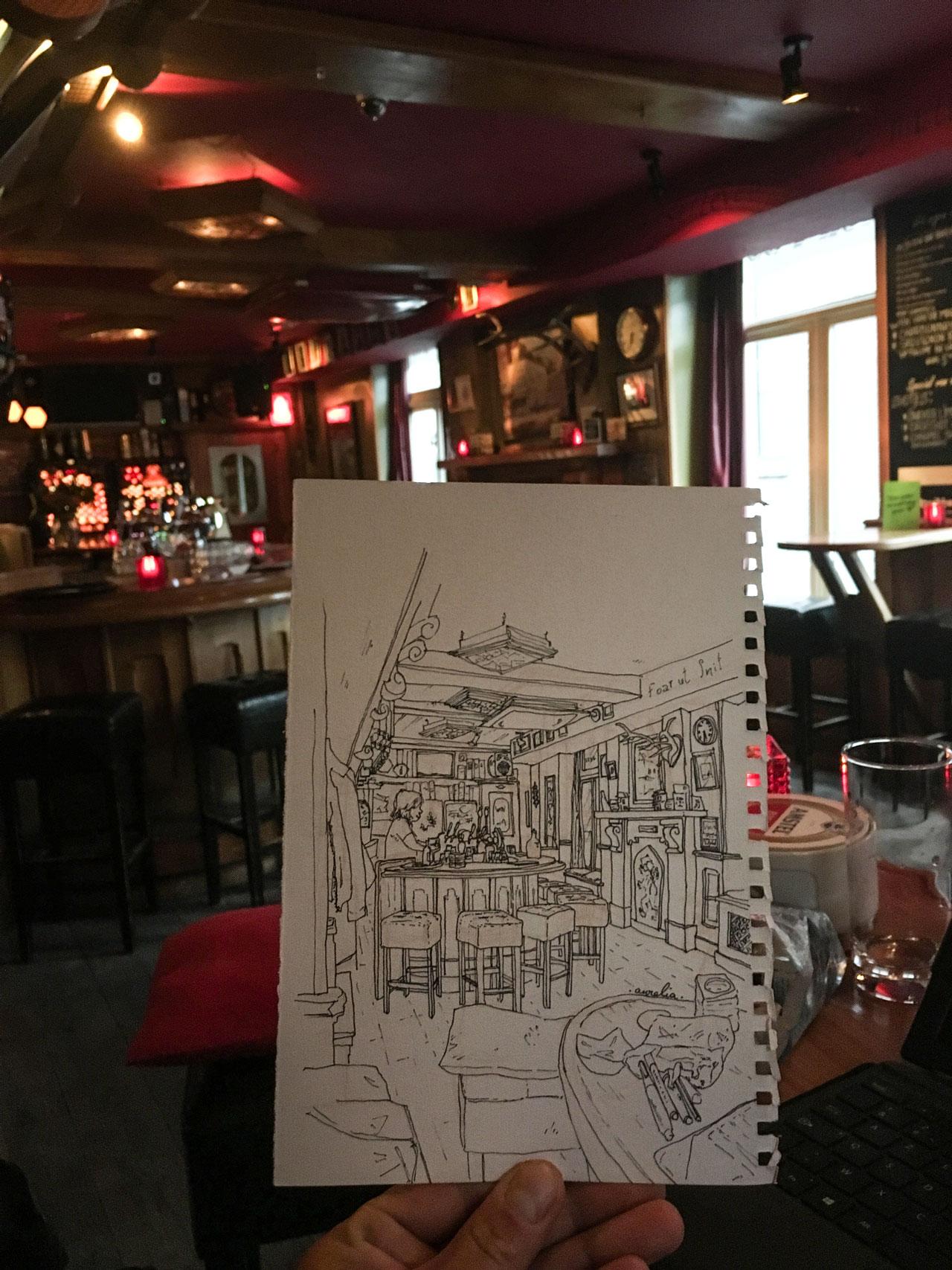 """Croquis de l'""""Irish Pub"""" de Sneek, Pays-Bas"""