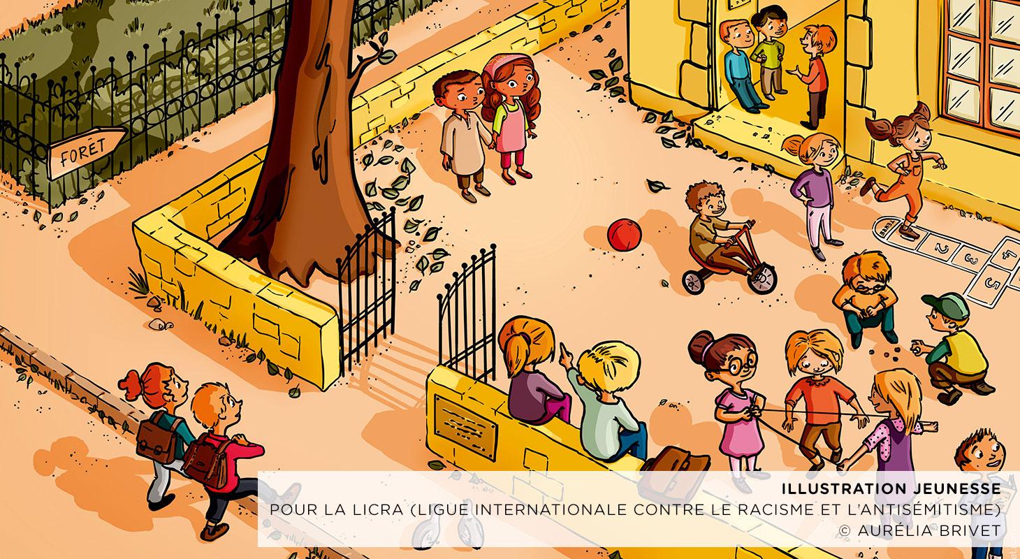 Illustrations de conte jeunesse pour la LICRA